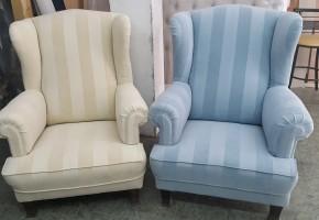 חידוש כורסא בבד עם פסים
